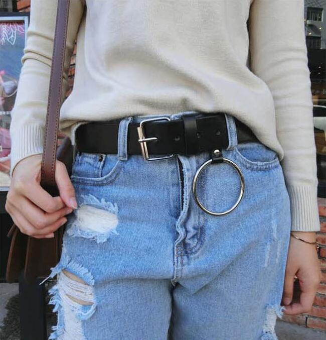 HOT Gold Round buckle belts female leisure jeans wild belt without pin metal buckle brown leather black strap belt women