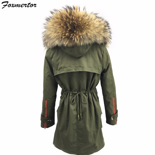 46ae4f6ba22dc 2017 Women s Army Green Large Raccoon Fur Collar Hooded Coat Parkas Cotton  Outwear Long Detachable Lining Winter Jacket Thick