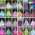 Бесплатная Доставка, Новое Прибытие 12 шт./лот Party кукольный Платье + сумки Одежда Платье Для куклы Барби