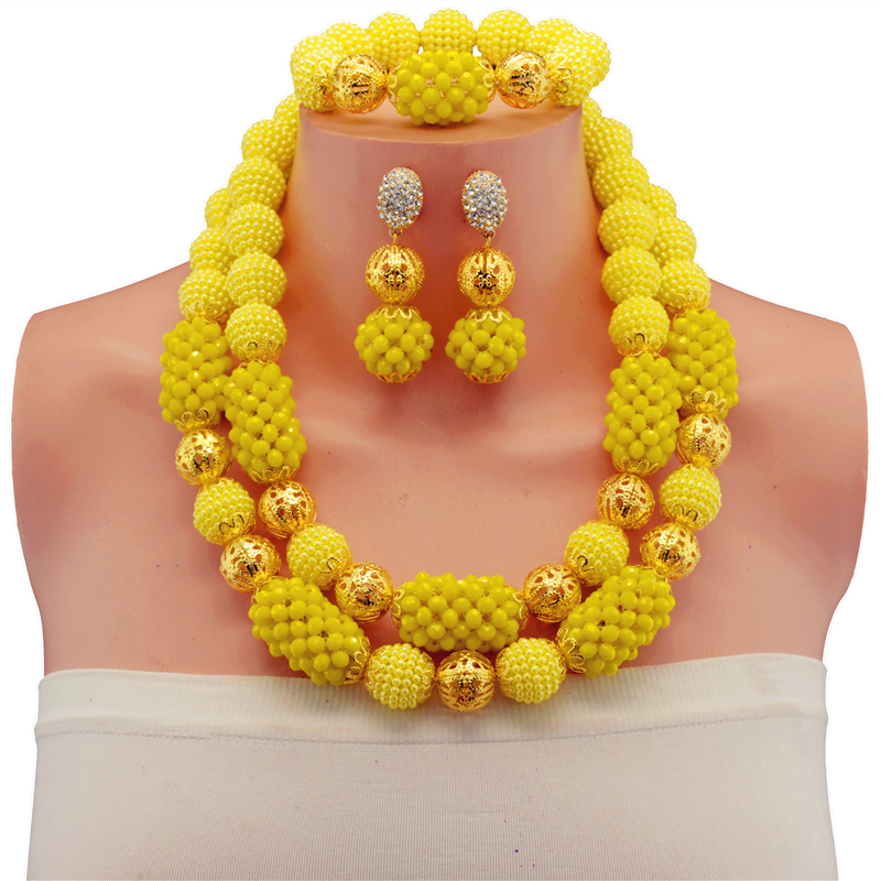 Nigerian Wedding Gold-color Ball African Beads Jewelry Set Yellow Black Indian Bridal Beaded Jewelry Sets