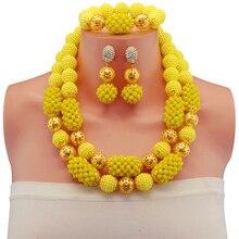 Mariage nigérian Or-couleur Boule Perles Africaines Ensemble de Bijoux Jaune Noir Indien De Mariée Perlée Bijoux Ensembles
