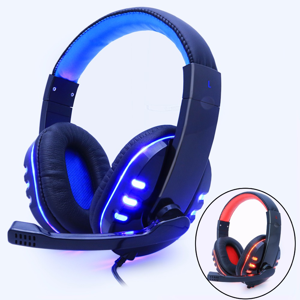 Gaming Headphone Headphones Headset Deep Bass Stereo With Mic Adjustable 3.5mm Wired led For computer Laptop Gamer Earphone super bass gaming headphones with light big over ear led headphone usb with microphone phone wired game headset for computer pc