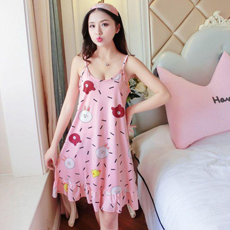 Lovely Girl Sleep Wear Night Dress With Eyemask Lingerie Nightgown Spaghetti Strap Kawaii Nightdress Cute Nighties For Women