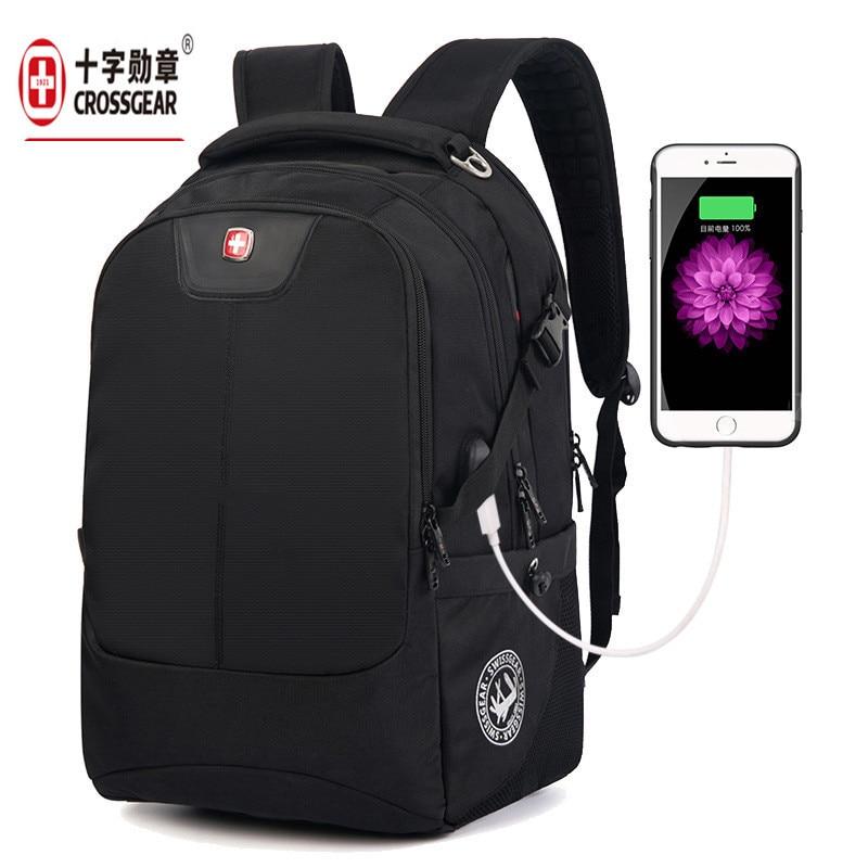 men 17 inch Men s Laptop Backpack usb black Waterproof Nylon Notebook Computer Bag High Quality