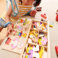 Free shipping educational toys wooden clothing Winnie four bear box stereo jigsaw puzzle game creative gift 1set
