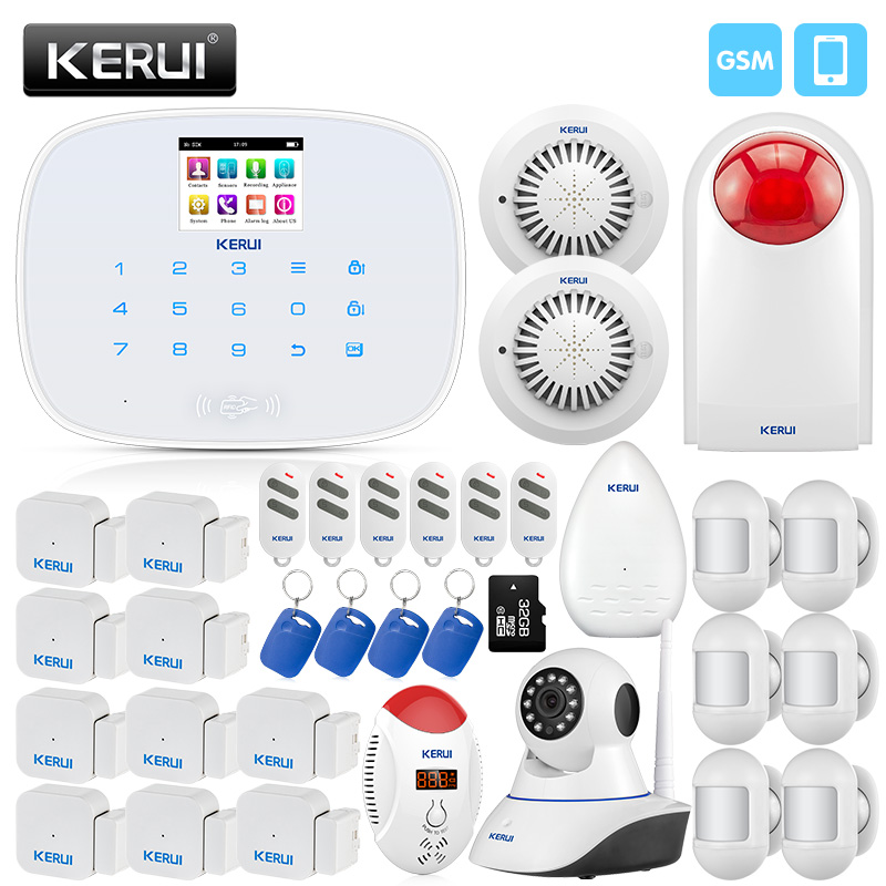 KERUI Wireless Home Security Alarm System Mini Motion Detector Door Sensor CO Detector Smoke Alarm 433mhz security alarm mainframe kits security alarm system wireless door sensor remote control smoke detector for home security