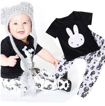 Summer 2pieces Baby boy clothing Toddler Infant Rabbit T-shirt Top & pants outfits suit set
