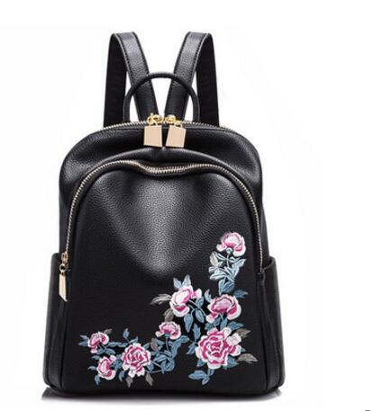 Backpack female Korean tide 2018 New fashion flok style embroidery Leather backpack Travel bag bags 2016 new lady chest pack female leather satchel leisure korean tide printing leather sports backpack bag chest free shipping