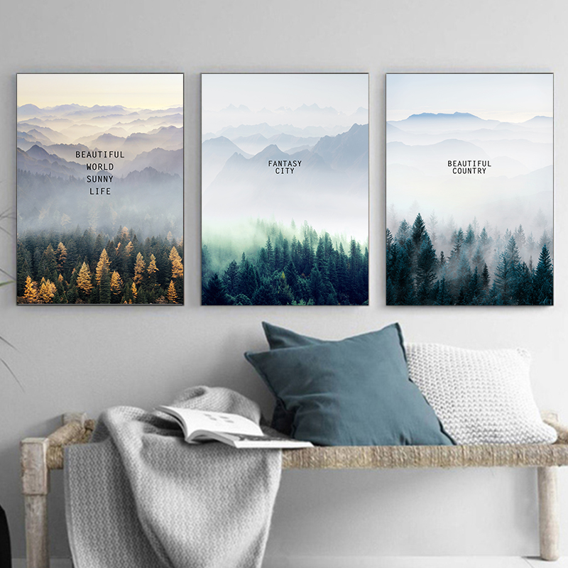 Nordic Forest Decorative Landscape Wall Art Canvas Posters And Prints Canvas Painting Living Room Home Decor Picture A2 A3 A4