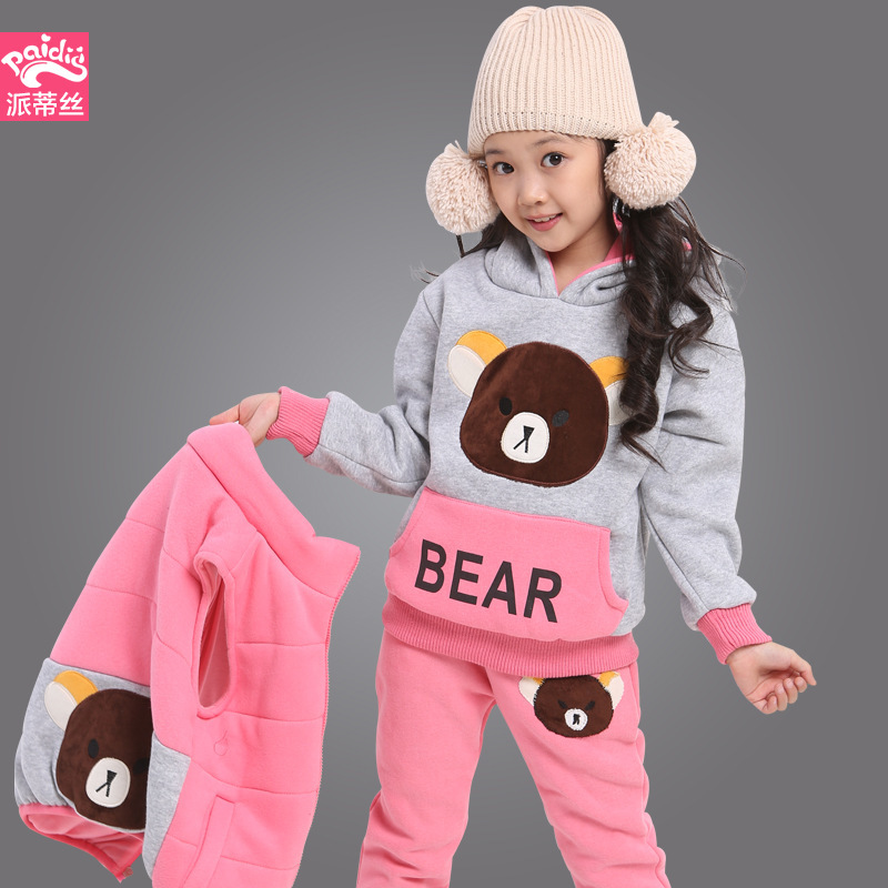 2016 winter boy s cotton cartoon monkey plus thick velvet three piece clothing suit children comfortable and warmth set Children's clothing Autumn winter girls sports suits the new children with thick warm children's cartoon cuhk three-piece suit