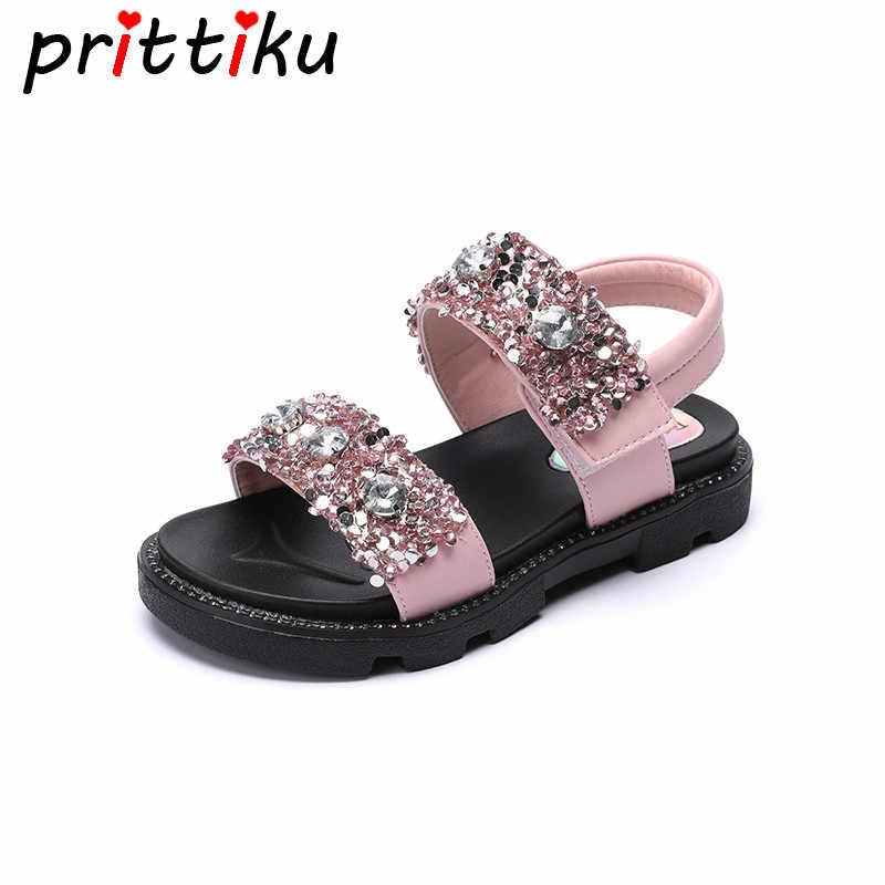 Summer 2018 Toddler Girl Glitter Rhinestone Sandals Little Kid Fashion  Beach Flats Big Children PU Leather 1390809c7dbf
