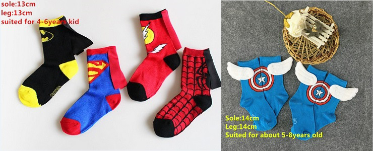 4Pairs/Lot Kids Superman Batman Spiderman The Flash Captain American Costume Socks Boys Girls Cosplay Cotton Socks With Capes