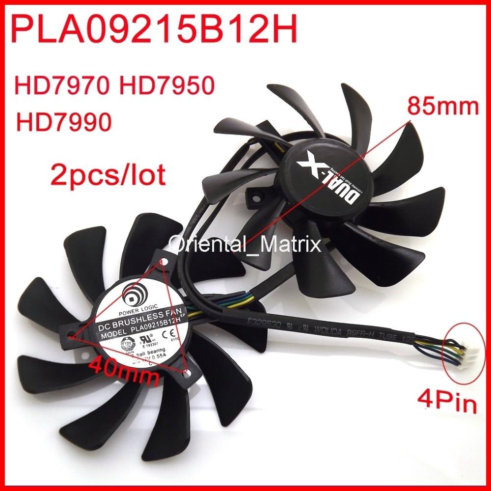 Free Shipping 2pcs/lot PLA09215B12H 0.55A 85mm 4Pin For Sapphire HD7970 HD7950 HD7990 Graphics Card Cooling Fan 4Pin 4pin mgt8012yr w20 graphics card fan vga cooler for xfx gts250 gs 250x ydf5 gts260 video card cooling