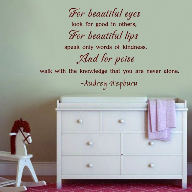 Aliexpresscom Buy For Beautiful Eyes Audrey Hepburn Quote Wall