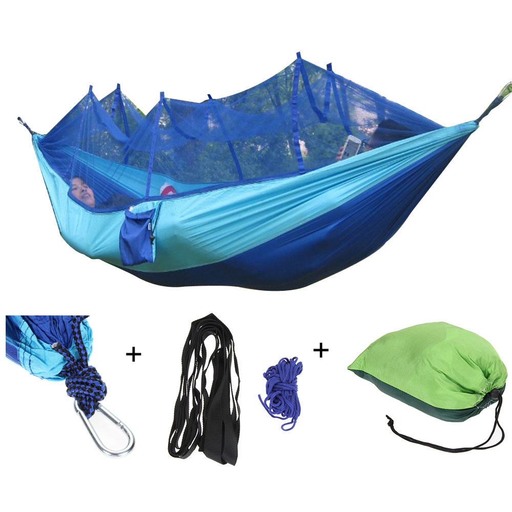 Adult Single Double Hammock Outdoor Travel Camping Hunting Sleeping Bed Portable Picnic Hanging Bed Hammock With Mosquitoe Net