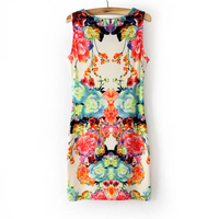 Western Fashion Girl Floral Printed Bodycon Dress Lady Vintage Sleeveless Slim Party Dresses Formal Above Knee