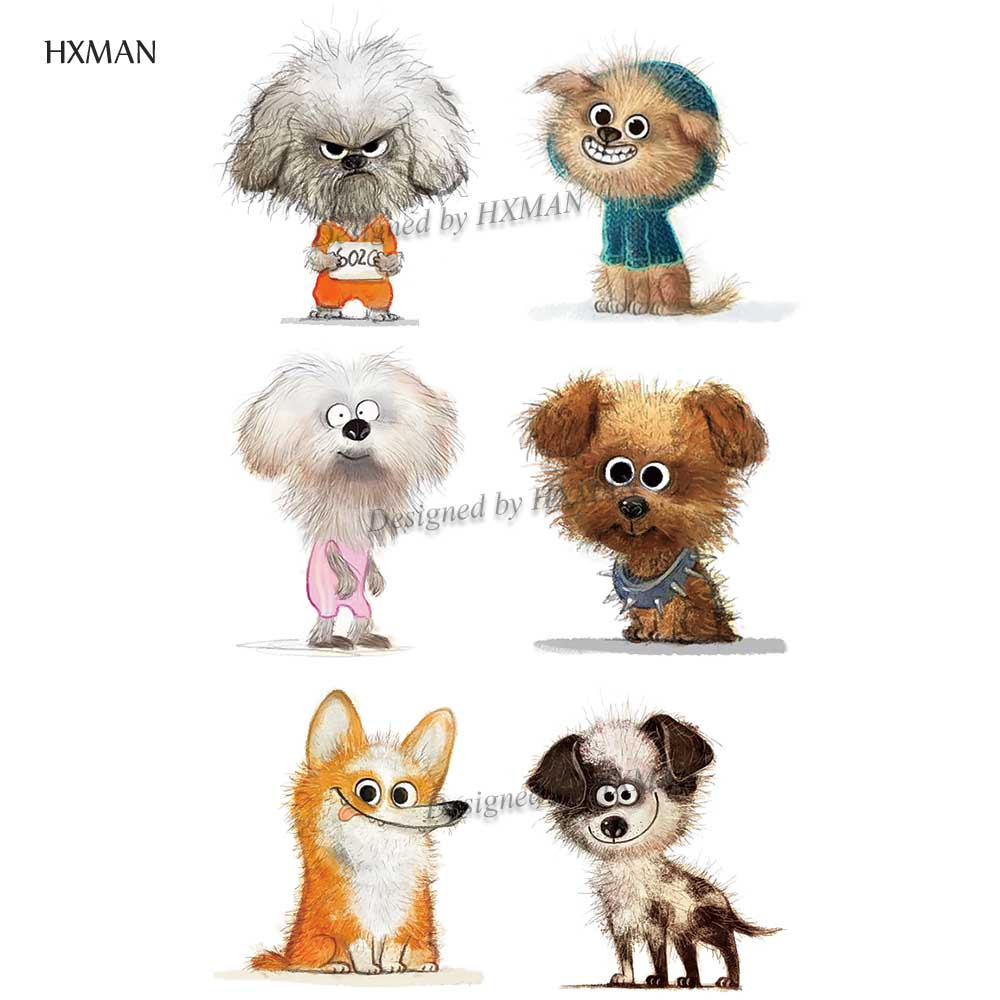 HXMAN Dog Animals Women Temporary Tattoo Sticker Tattoos For Waterproof Men Body Art Kids Hand Fake Tatoo 9.8X6cm A-188