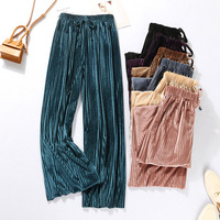 Women Wide Leg Pants Autumn 2019 New Arrival Winter Korean Style Corduroy Female Loose Pants Fashion Black Purple Pink N22