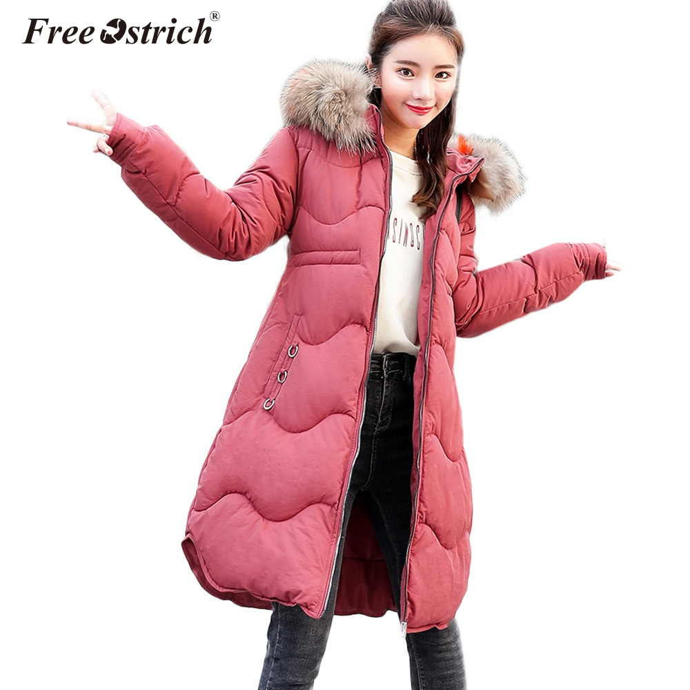 Free Ostrich Big fur winter coat thickened parka women stitching slim long winter coat ladies parka jacket women 2019 YS45