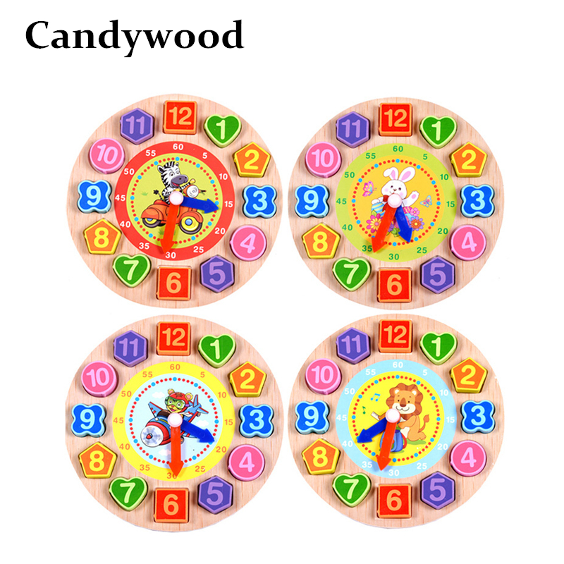 все цены на Wooden Clock Toys for Children Educational Lacing Beads Cartoon animal Digital Wood Clock Montessori Early Educational Toys онлайн