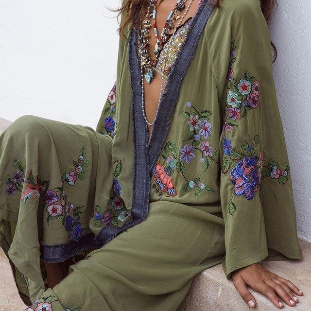 2019 Boho Inspirado Bordado Kimono Kaftan Frente Aberta Cintura Top Praia Contraste Camisa Longa Blusa Dress Summer Beach Dress 1