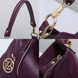 Image 5 - Zency Fashion Purple Women Shoulder Bag 100% Genuine Leather Elegant Tote Handbag High Quality Female Messenger Bags Classic
