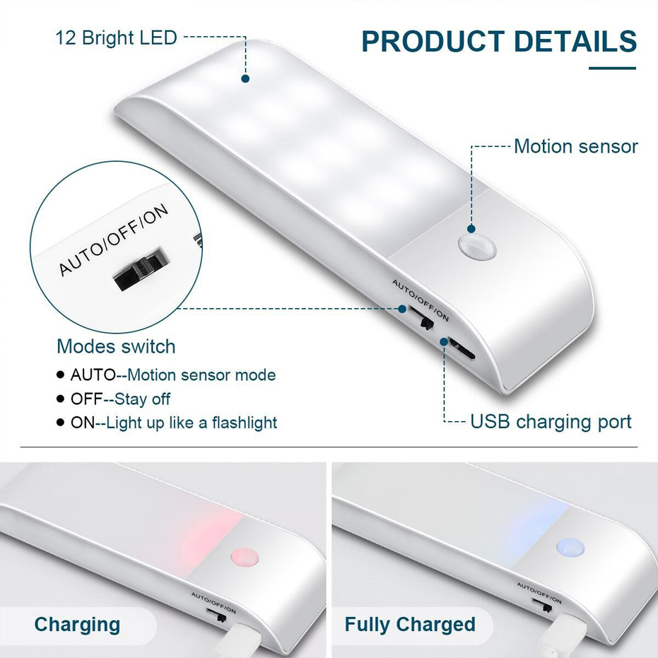 Under Cabinet Lights Kitchen Lighting IR Motion Sensor 12LEDS smd5730 Night Lights USB Chargeable Stair Light Closet Lamp 4