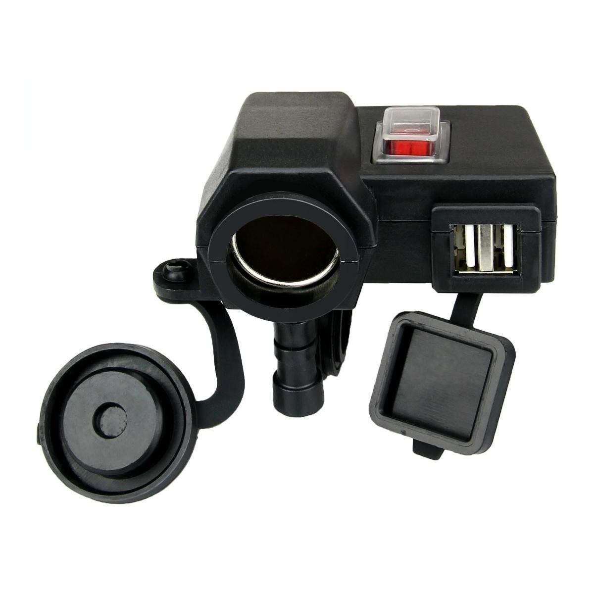 AUTO Waterproof 5V/2.1A Dual USB Output Motorcycle Handlebar Clamp Power Adapter Charger USB Charging System