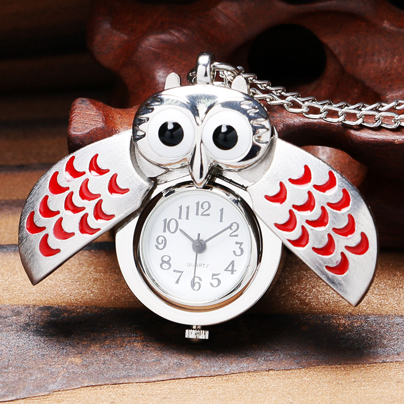 Cute Owl Shape Design Quartz Pendant Pocket Watch With Necklace Chain Best Gift For Children Girls