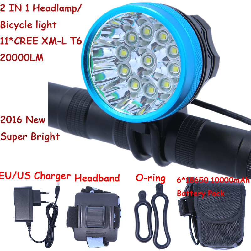 2 in 1 Headlamp Headlight 20000 Lumens 11 x Cree XM-L T6 LED Bicycle Light Cycling Bike Head Lamp + 18650 Battery Pack+Charger 6 cree xm l t6 3 modes 8000lm headlight headlamp bicycle light bike light super power 6t6 for bike with battery pack charger