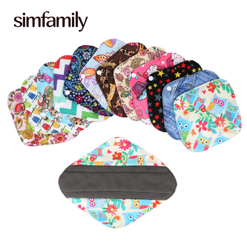 [simfamily] 10Pc Panty Liner Waterproof Bamboo Charcoal Material Menstrual Cloth Sanitary Pads Reusable Healthy physiological
