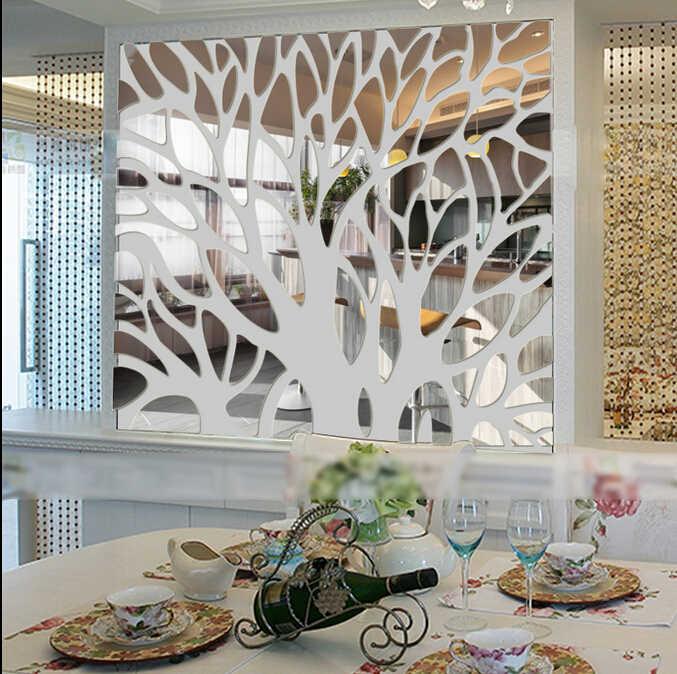Nuevo 3D grande árbol espejo pared pegatinas espejo pegatinas para TV telón de fondo acrílico Autocollant Mural hogar sala de estar pared calcomanías