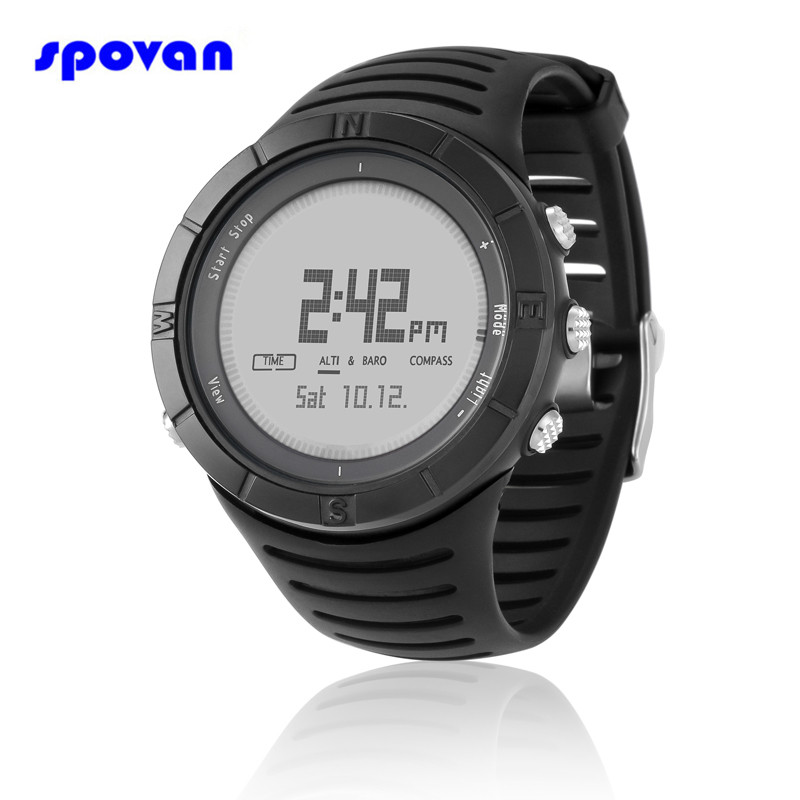 SPOVAN Sport Watch Digital Barometer/Altimeter/Thermometer/Compass Chronograph Clock Men Women Saat Relogio Masculino Feminino north edge men sports watch altimeter barometer compass thermometer weather forecast watches digital running climbing wristwatch