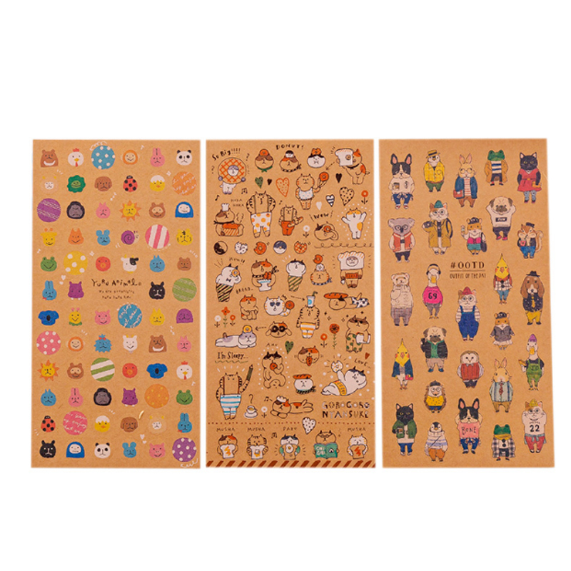 Купить с кэшбэком 3pcs/lot Creative Japanese kraft paper cat sticker child diy toy Photo album Deco sticker scrapbooking seal sticker stationery