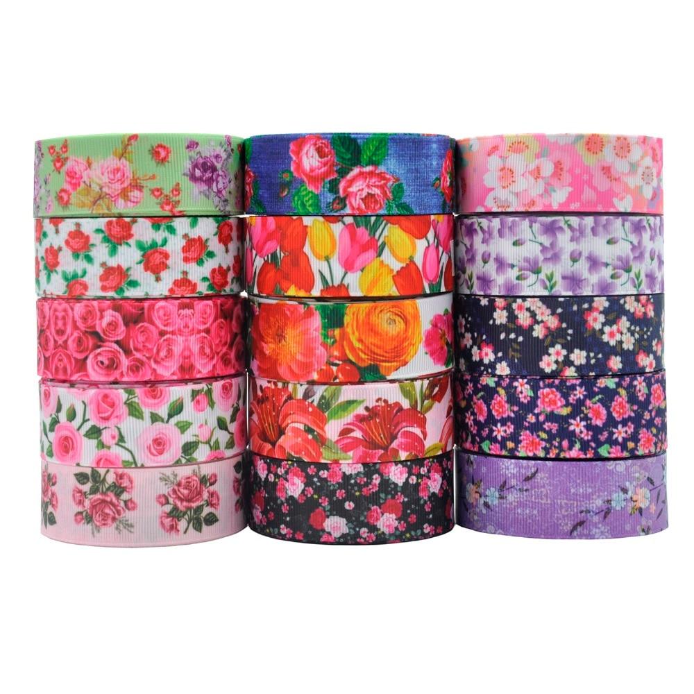1 «(25) мм 5 ярдов качество печатных розы цветы Grosgrain ленты DIY материалы ручной работы диван кровать домашний текстиль украшения