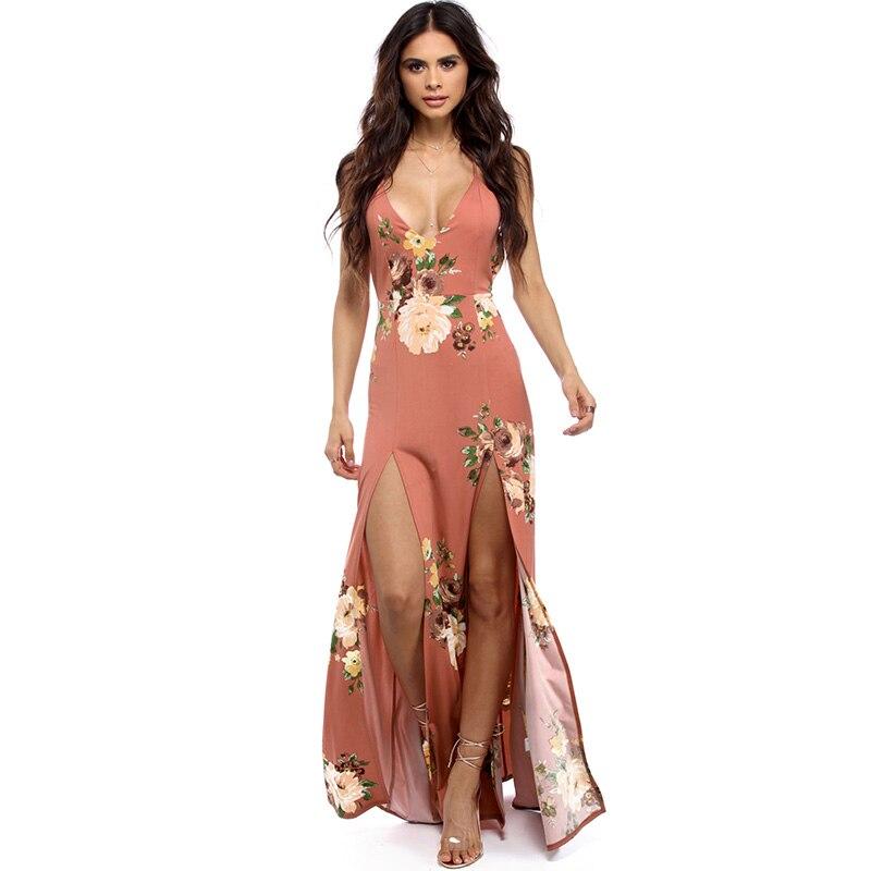 New Women Deep V Neck Dress Backless Long 2019 Sundress Sleeveless Split Cross Lace Up Summer Dresses Boho Floral Beach Vestido