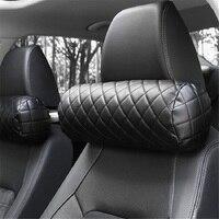 CHIZIYO  almohada de cuello para coche de espuma viscoelástica  silla de oficina de piel sintética cilíndrica automática  refuerzo de reposacabezas  cojín acolchado negro