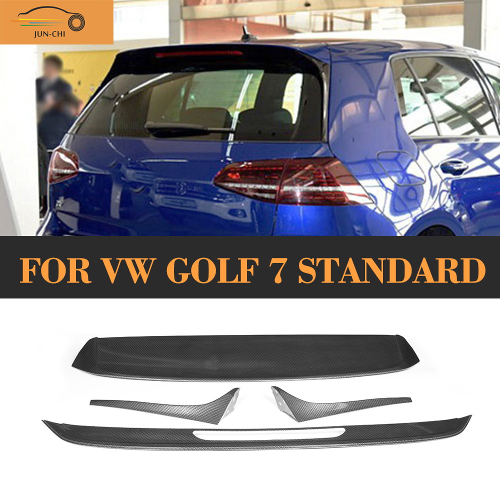 Carbon Fiber Painting Looking Rear Spoiler for VW Golf 7 VII MK7 Standard 2014 2015 2016 Tail Roof Trunk Lip Wing