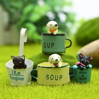 4pcs Lot Kawaii French Hanging Cup Puppy PVC Action Figures Toys Creative Micro Garden Landscape Decoration