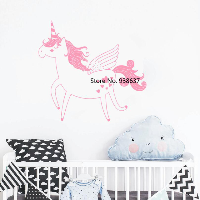 Unicorn Wall Decal Kids Room Nursery Art Decals Removable Wall Sticker Home Decor  Bedroom Self Adhesive Wallpaper Newly SA938
