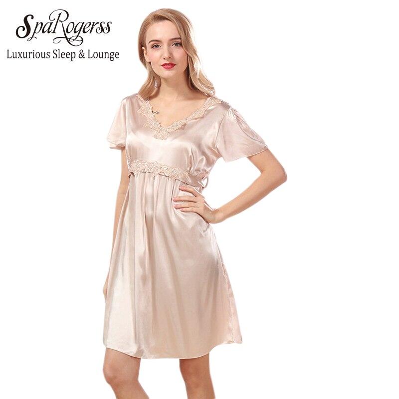 Silk Dressing Gowns Ladies: SpaRogerss Women Nightgown 2018 New Brand Design Summer