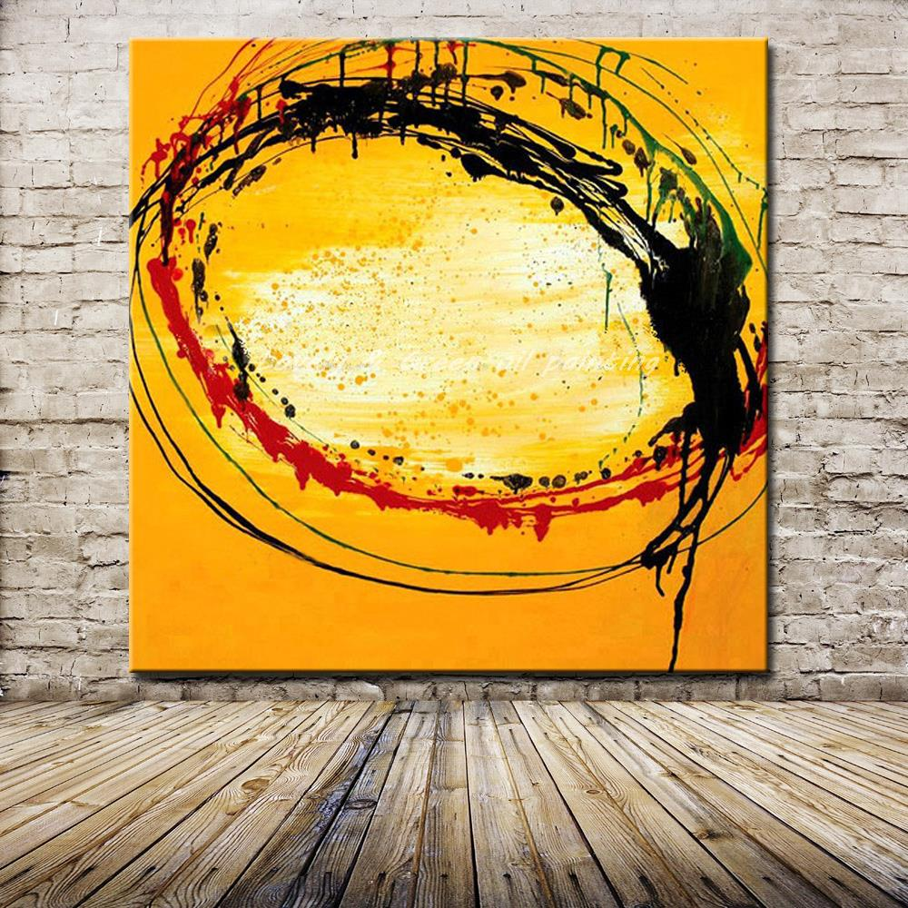 Hand Painted Red Black Yellow Oil Paintings On Canvas Home ...