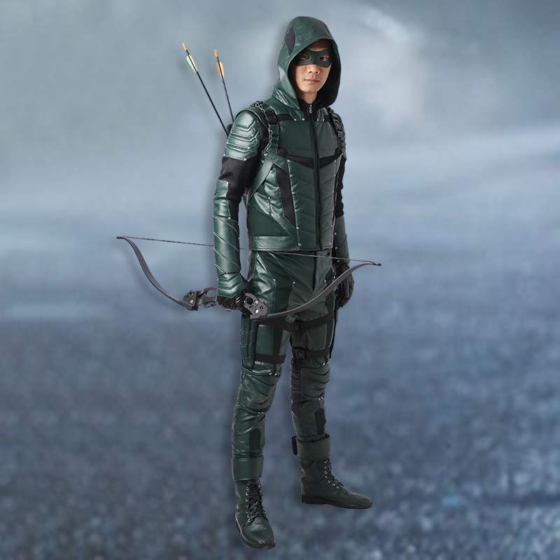 Oliver Queen Cosplay Green Arrow Season 5 Costume Outfit Superhero Halloween Party Men Clothes Custom Made Adult With Boots