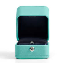 Brand New Fanxi Blue PU Leather Wedding Ring Box Jewelry Necklace Packaging Box Jewellry Box Gift Box Packaging Without Logo