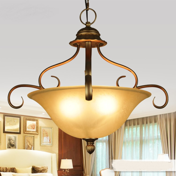 European-style iron pendant lights luxury living room aisle grand hotel lobby decorated single head glass pendant lamps ZA oversized living room 36 inch shell lamps rich natural mediterranean flower garden hotel lobby lights pendant lights wwy 0363