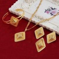 Bangrui Gold Plated Ethiopian Jewelry 4pcs Sets Chokers Necklace Earrings Ring Bracelet Eritrea Habesha Africa Bride