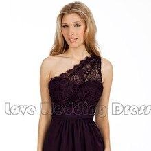 One Shoulder Prom Dresses Chiffon Lace Vestido De Festa A Line Prom Dress Backless Robe De Soiree Fashion Bridesmaid Dress