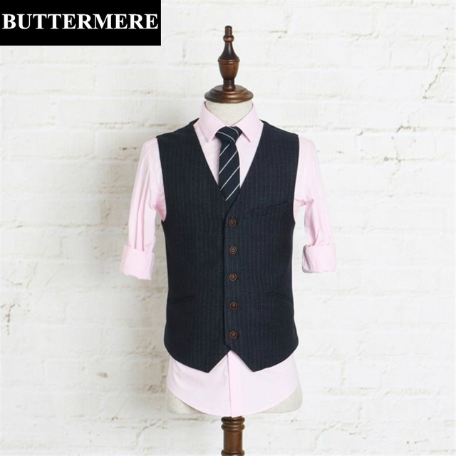 Dark Blue Striped Suit Vest Mens Business Casual Wedding Waistcoat Fashion Male Clothing Slim Fit Dress Vest Spring Autumn
