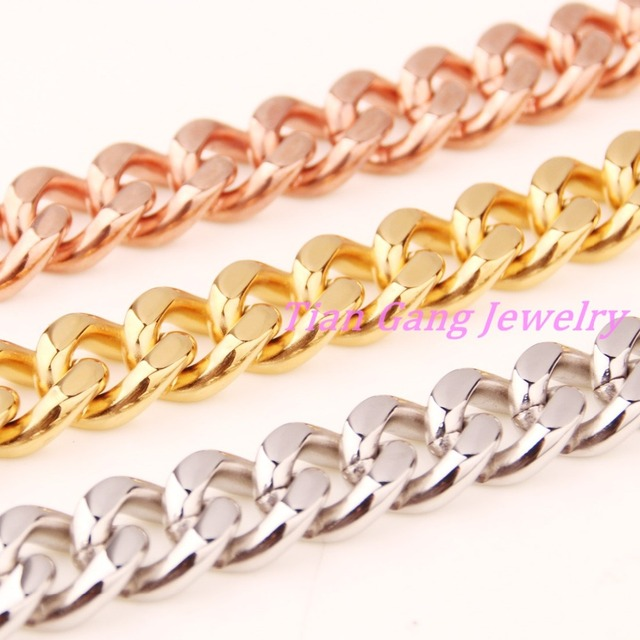 Customize Length15mm Heavy Biker Mens Chain Boys Silver Gold Rose