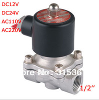 Free Shipping 1/2 Stainless Steel Electric Solenoid Valve 12VDC Normally Closed FKM 2S160 15 DC24V,AC110V or AC220V